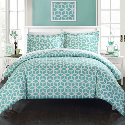 Elizabeth Reversible Duvet Cover Set Size: Queen, Color: Green