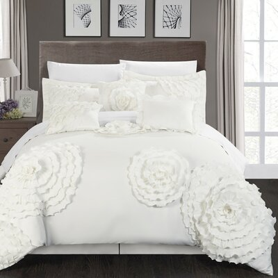 Belinda 11 Piece Comforter Set Size: King, Color: White