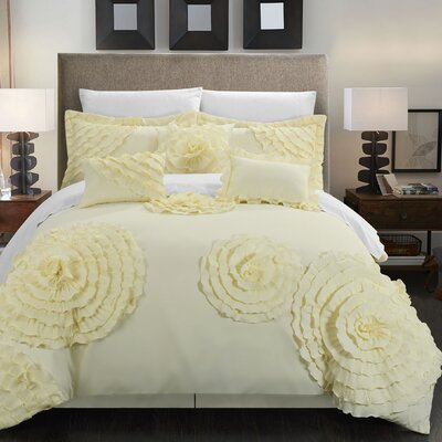 Belinda 11 Piece Comforter Set Size: Queen, Color: Beige