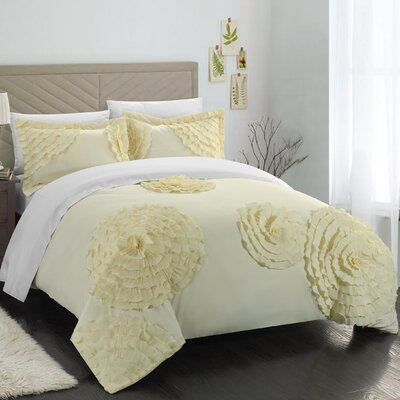 Birdy 3 Piece Duvet Cover Set Size: Queen, Color: Yellow