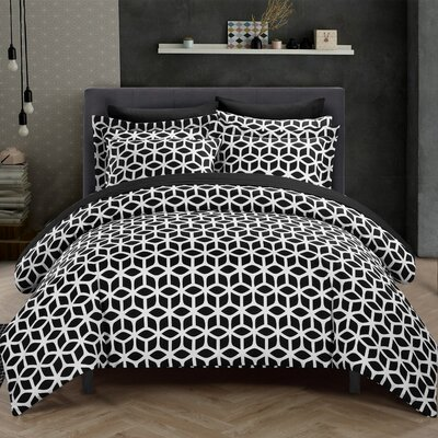 Elizabeth Reversible Duvet Cover Set Size: Twin, Color: Black