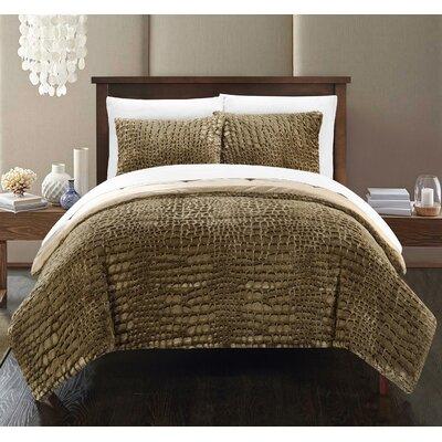 Alligator 3 Piece Comforter Set Color: Gold, Size: Queen