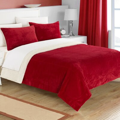 Evie 2 Piece Twin XL Comforter Set Color: Burgundy