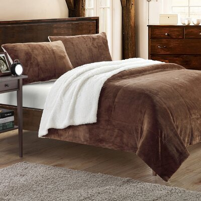 Evie 2 Piece Twin XL Comforter Set Color: Brown