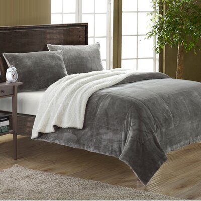Evie 2 Piece Twin XL Comforter Set Color: Grey