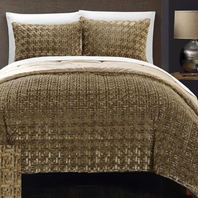 Greece 3 Piece Queen Comforter Set Color: Gold