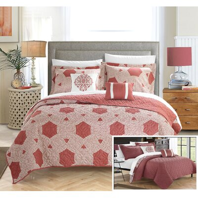 Zoe Quilt Set Size: King, Color: Brick