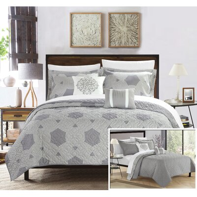 Zoe Quilt Set Size: King, Color: Gray