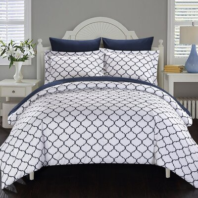 Heather Reversible Comforter Set Size: King, Color: Navy