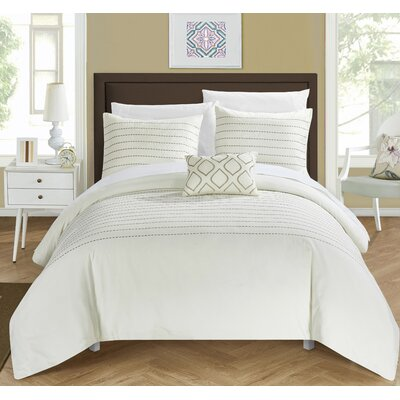 Bea 7 Piece Duvet Cover Set Size: King, Color: Beige