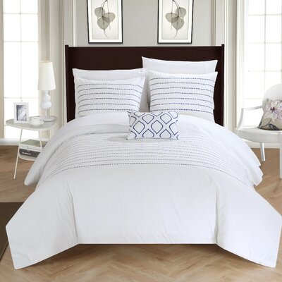 Bea 7 Piece Duvet Cover Set Size: King, Color: White