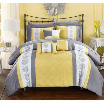 Clayton 10 Piece Comforter Set Size: Queen, Color: Yellow