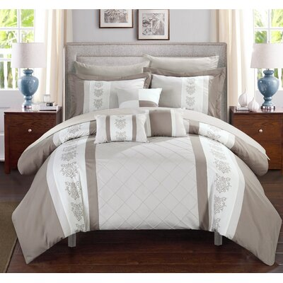 Clayton 10 Piece Comforter Set Size: Queen, Color: Beige
