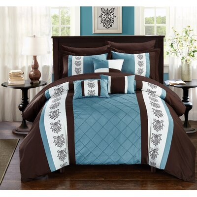 Clayton 10 Piece Comforter Set Size: Queen, Color: Brown