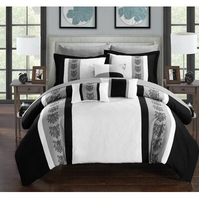 Clayton 10 Piece Comforter Set Size: Queen, Color: White
