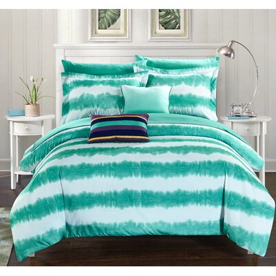 Noah Comforter Set Size: Twin, Color: Turquoise