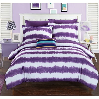 Noah Comforter Set Size: Full, Color: Purple
