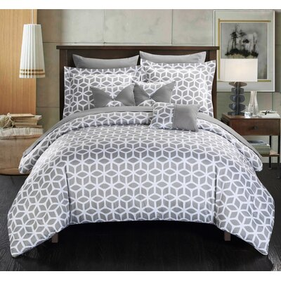 Stefanie 10 Piece Reversible Comforter Set Size: King, Color: Gray