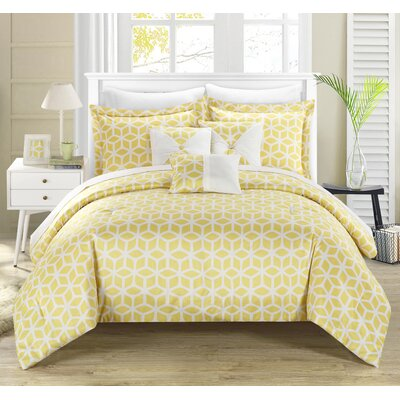 Stefanie 10 Piece Reversible Comforter Set Size: King, Color: Yellow