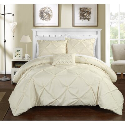 Alaina 8 Piece Duvet Cover Set Size: King, Color: Beige
