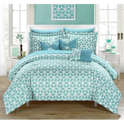 Stefanie 10 Piece Reversible Comforter Set Size: King, Color: Teal Green