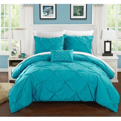 Alaina Duvet Cover Set Size: King, Color: Turquoise