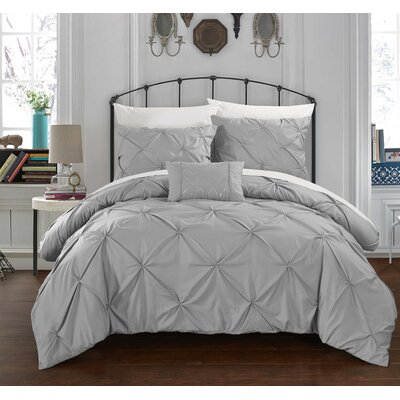 Alaina 8 Piece Duvet Cover Set Size: King, Color: Silver