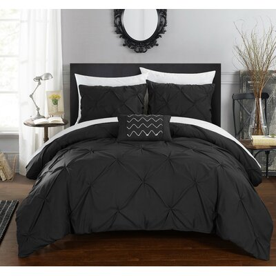 Alaina 8 Piece Duvet Cover Set Size: Queen, Color: Black