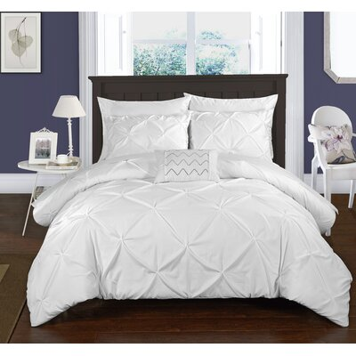 Caddington 8 Piece Duvet Cover Set Size: King, Color: White