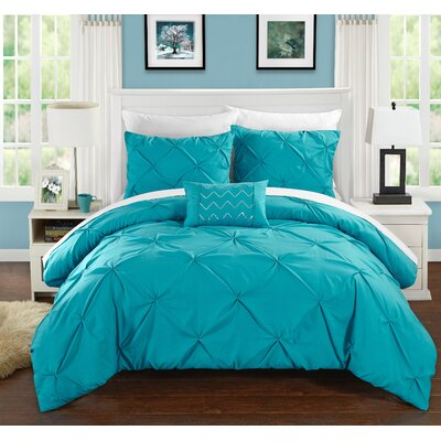Alaina 8 Piece Duvet Cover Set Size: King, Color: Turquoise