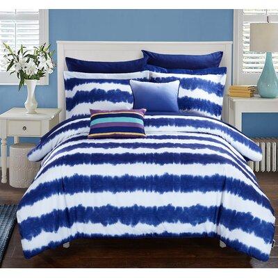 Noah Comforter Set Size: Full, Color: Navy