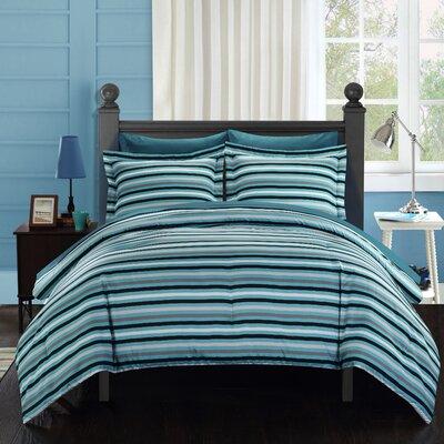 Peyton Reversible Comforter Set Size: King, Color: Blue