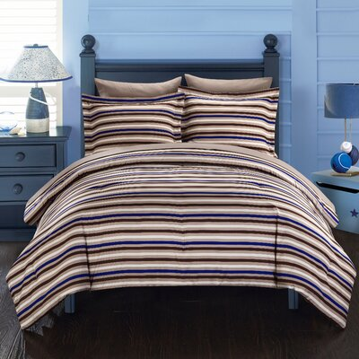 Peyton Reversible Comforter Set Size: King, Color: Brown