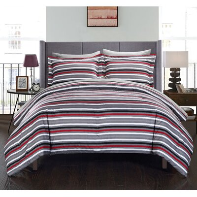 Peyton Reversible Comforter Set Size: King, Color: Gray