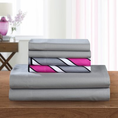 Ariel 6 Piece Sheet Set Size: King, Color: Fuschia