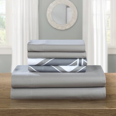 Ariel 6 Piece Sheet Set Size: Queen, Color: Gray