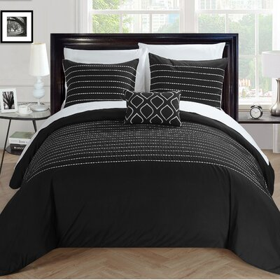 Bea Duvet Cover Set Size: King, Color: Black