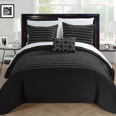 Bea 7 Piece Duvet Cover Set Size: Queen, Color: Black