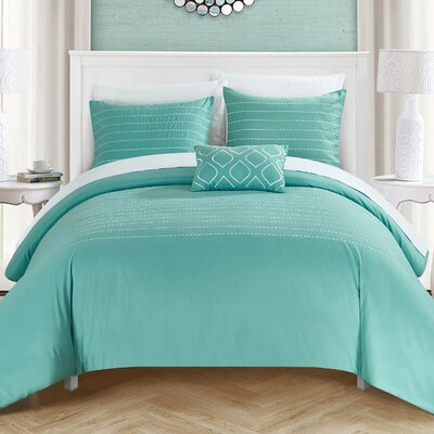 Bea 8 Piece Duvet Cover Set Size: Queen, Color: Blue