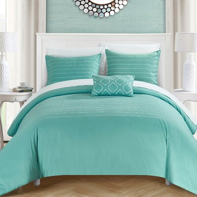 Bea Duvet Cover Set Size: Queen, Color: Blue