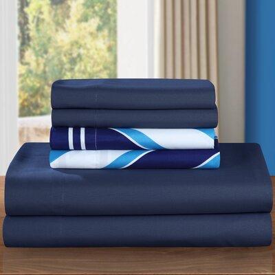 Ariel 6 Piece Sheet Set Size: Twin, Color: Navy