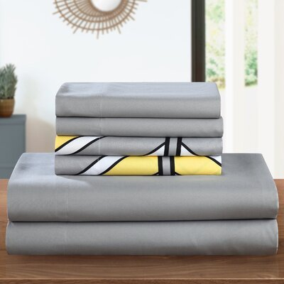 Ariel 6 Piece Sheet Set Size: Queen, Color: Yellow