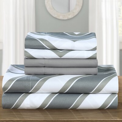 Ariel Polyester Sheet Set Size: Queen, Color: Gray