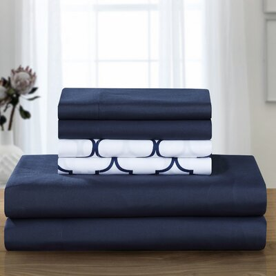 Illusion Sheet Set Size: King, Color: Navy