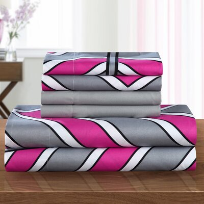 Ariel Polyester Sheet Set Size: King, Color: Fuchsia