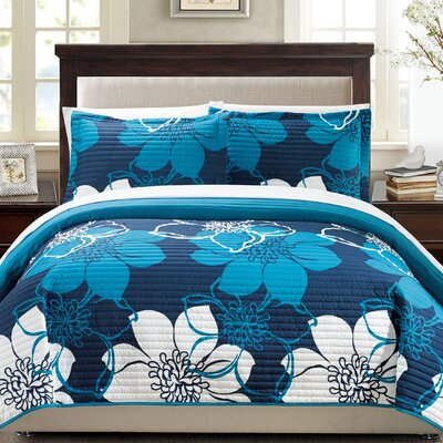 Reversible Quilt Set Size: Queen, Color: Blue