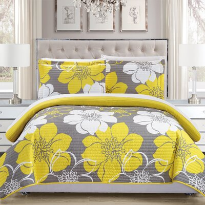 Reversible Quilt Set Size: Twin, Color: Yellow