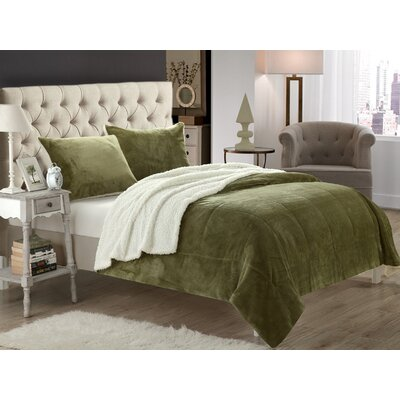 Evie 2 Piece Twin XL Comforter Set Color: Green
