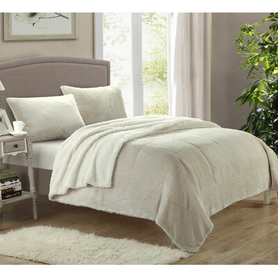 Evie 2 Piece Twin XL Comforter Set Color: Beige