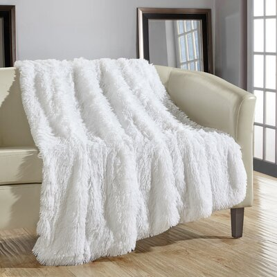 Elana Shaggy Supersoft Ultra Plush Decorative Throw Blanket Color: White